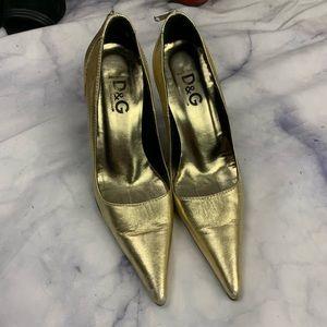 DOLCE & GABBANA gold zipper heels eu36